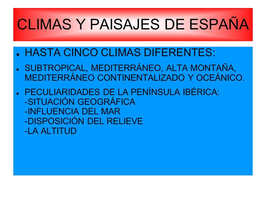 HASTA CINCO CLIMAS DIFERENTES: SUBTROPICAL, MEDITERRÁNEO, ALTA MONTAÑA, MEDITERRÁNEO CONTINENTALIZADO Y OCEÁNICO. PECULIARIDADES DE LA PENÍNSULA IBÉRI
