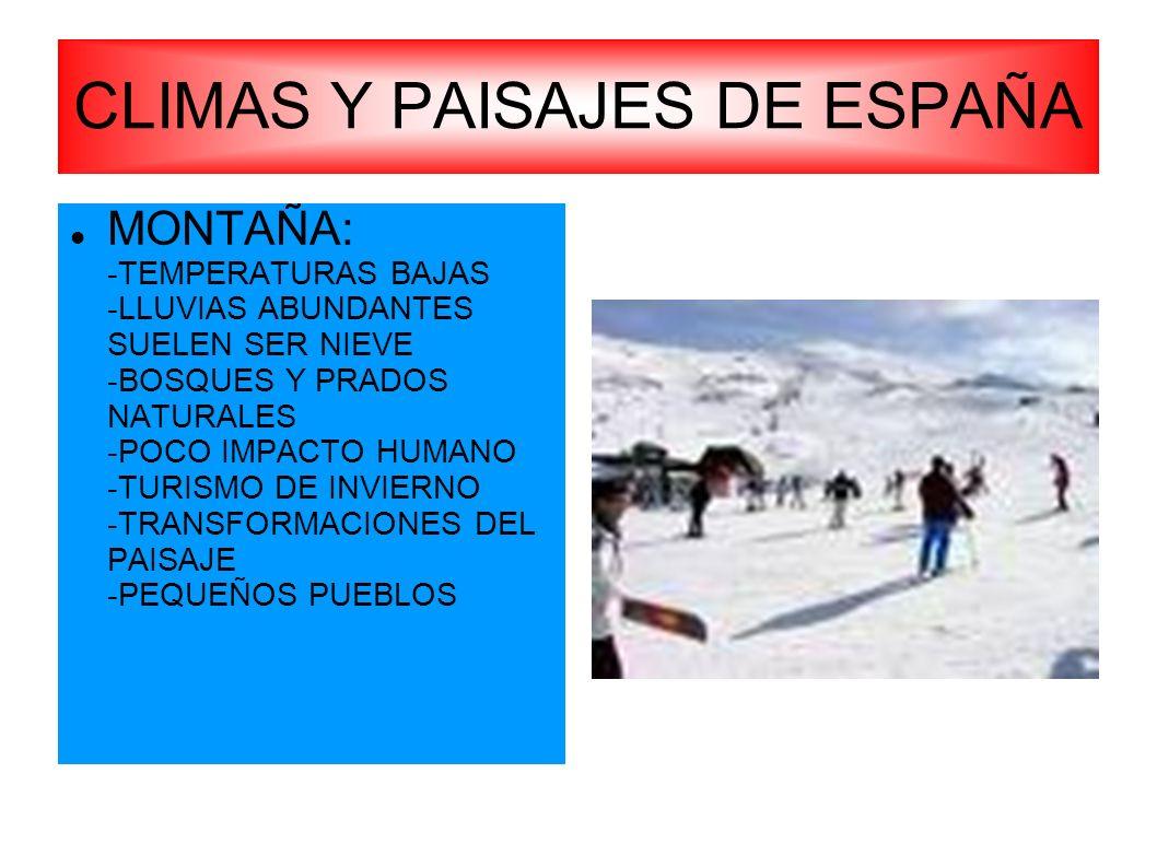 CLIMAS Y PAISAJES DE ESPAÑA MONTAÑA: -TEMPERATURAS BAJAS -LLUVIAS ABUNDANTES SUELEN SER NIEVE -BOSQUES Y PRADOS NATURALES -POCO IMPACTO HUMANO -TURISM