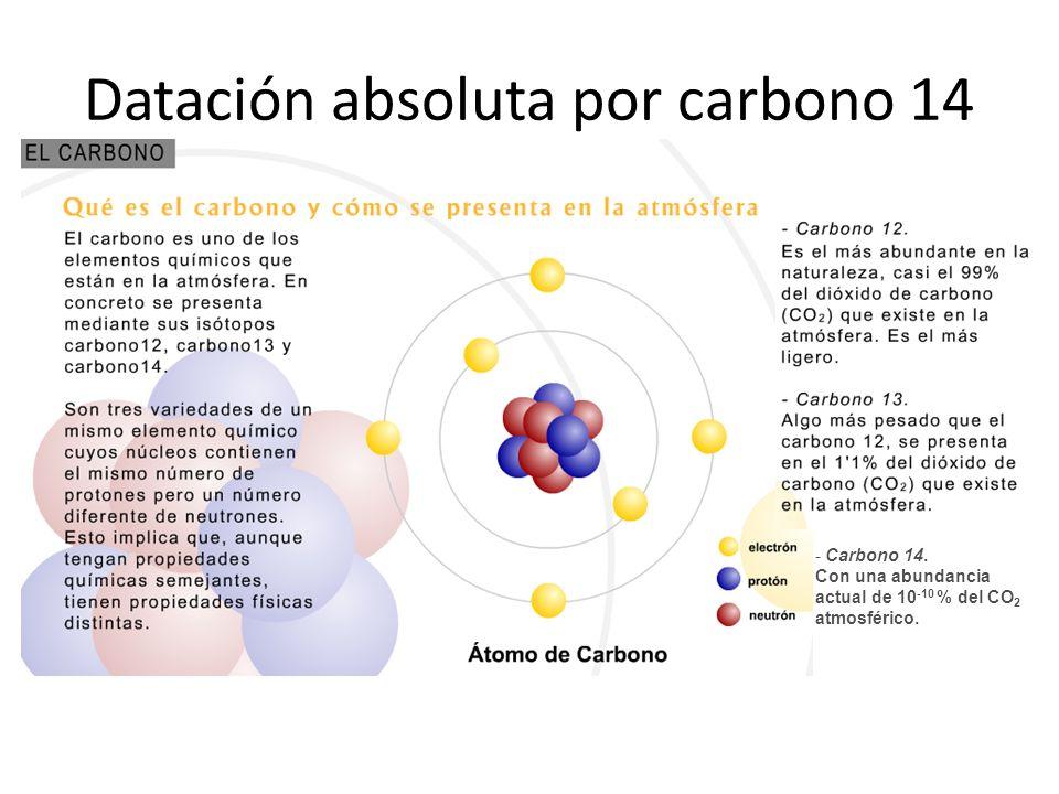 Datación absoluta por carbono 14 - Carbono 14. Con una abundancia actual de 10 -10 % del CO 2 atmosférico.