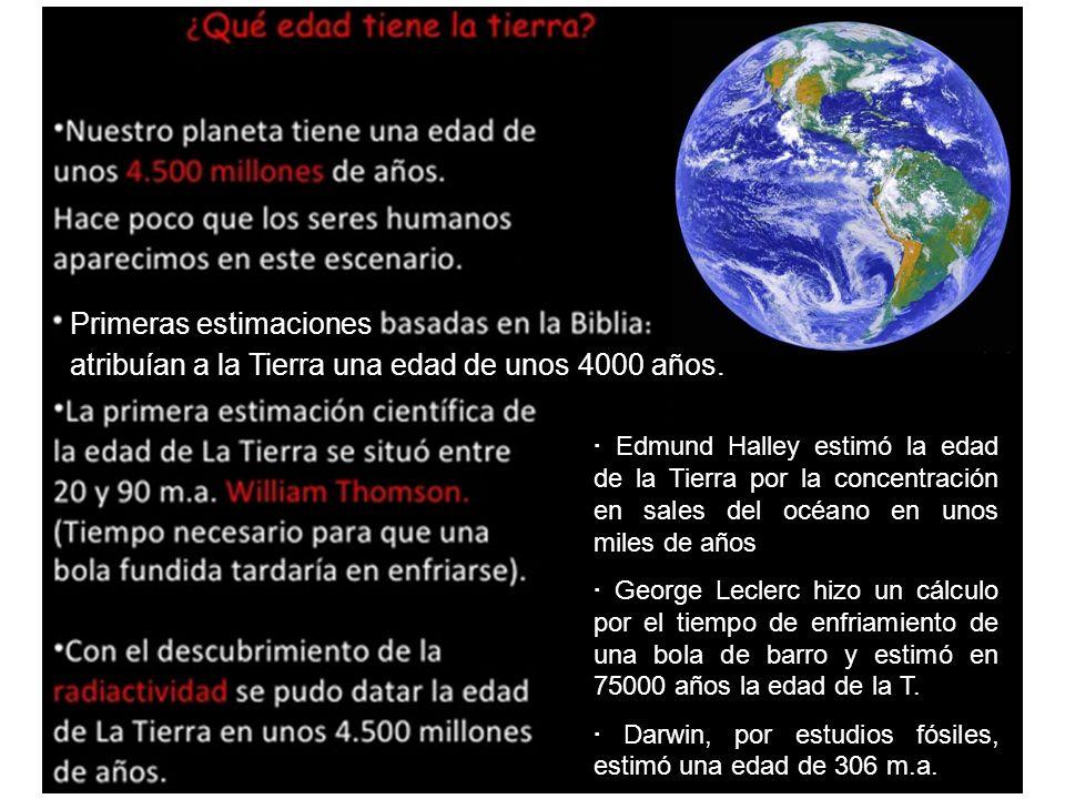 Primeras estimaciones atribuían a la Tierra una edad de unos 4000 años. · Edmund Halley estimó la edad de la Tierra por la concentración en sales del