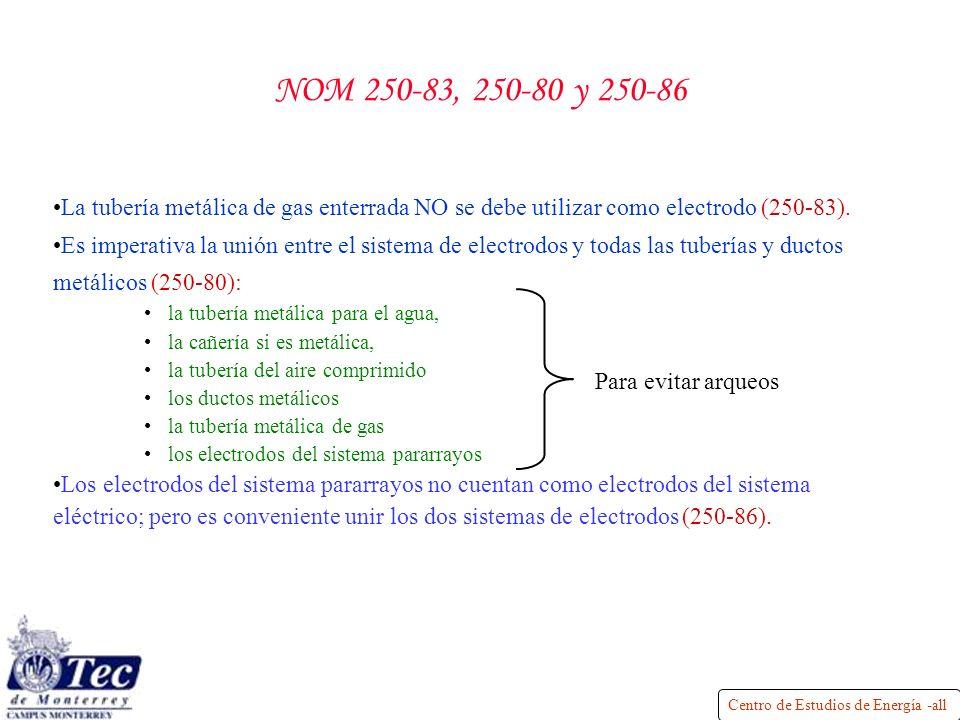 Centro de Estudios de Energía -all NOM 250-83, 250-80 y 250-86 La tubería metálica de gas enterrada NO se debe utilizar como electrodo (250-83).