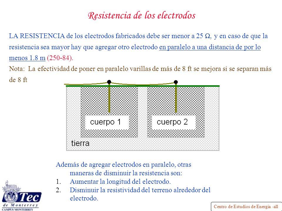 Centro de Estudios de Energía -all Resistencia de los electrodos LA RESISTENCIA de los electrodos fabricados debe ser menor a 25, y en caso de que la resistencia sea mayor hay que agregar otro electrodo en paralelo a una distancia de por lo menos 1.8 m (250-84).