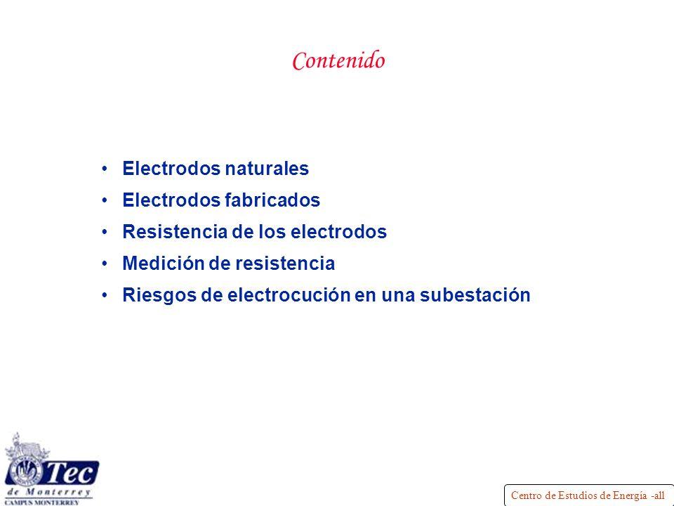 Centro de Estudios de Energía -all Contenido Electrodos naturales Electrodos fabricados Resistencia de los electrodos Medición de resistencia Riesgos de electrocución en una subestación