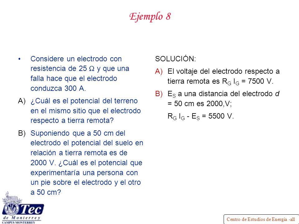 Centro de Estudios de Energía -all Ejemplo 8 Considere un electrodo con resistencia de 25 y que una falla hace que el electrodo conduzca 300 A.