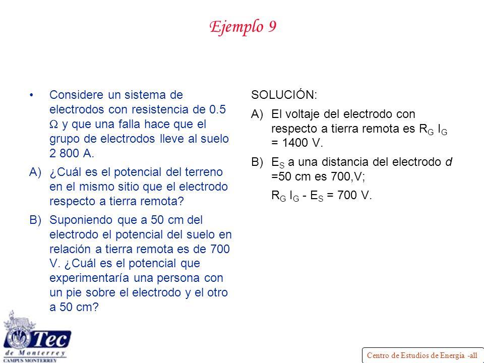 Centro de Estudios de Energía -all Ejemplo 9 Considere un sistema de electrodos con resistencia de 0.5 y que una falla hace que el grupo de electrodos lleve al suelo 2 800 A.