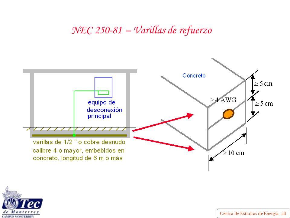 Centro de Estudios de Energía -all NEC 250-81 – Varillas de refuerzo