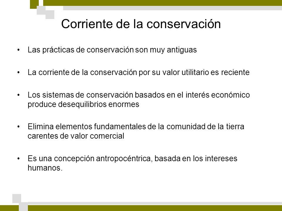 Corriente de la conservación Las prácticas de conservación son muy antiguas La corriente de la conservación por su valor utilitario es reciente Los si