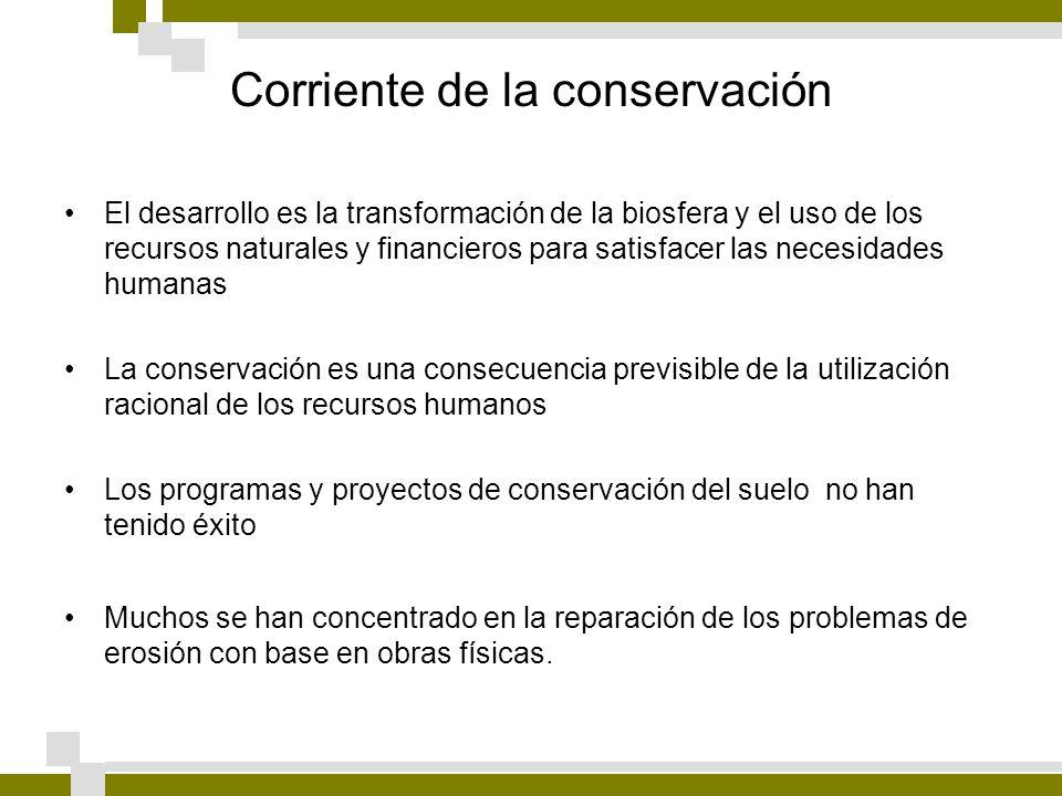 Corriente de la conservación El desarrollo es la transformación de la biosfera y el uso de los recursos naturales y financieros para satisfacer las ne