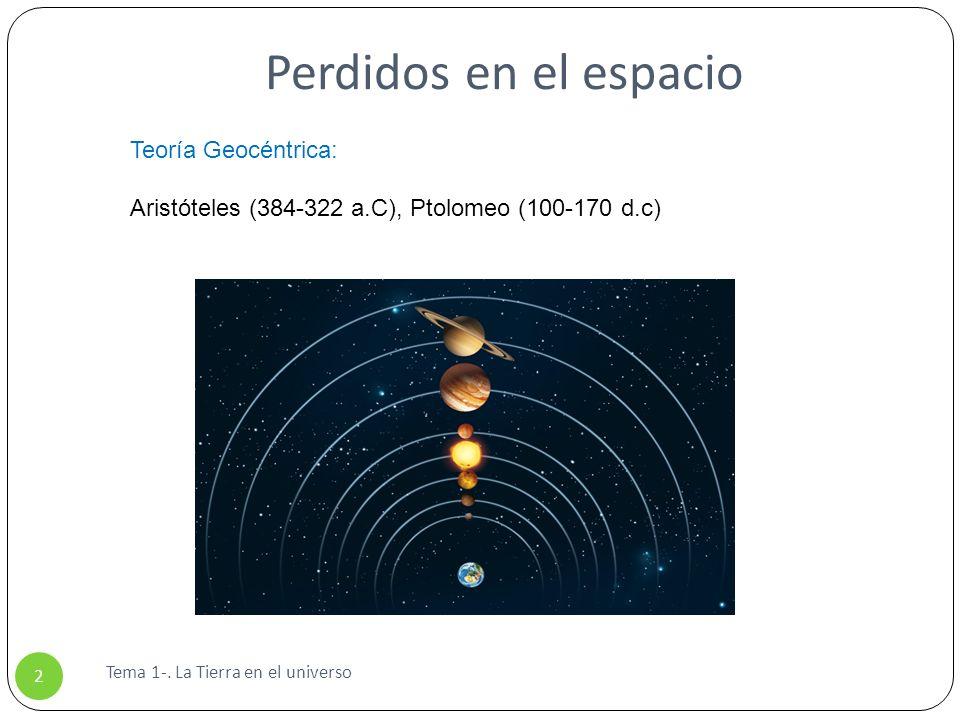 Perdidos en el espacio Tema 1-. La Tierra en el universo 2 Teoría Geocéntrica: Aristóteles (384-322 a.C), Ptolomeo (100-170 d.c)