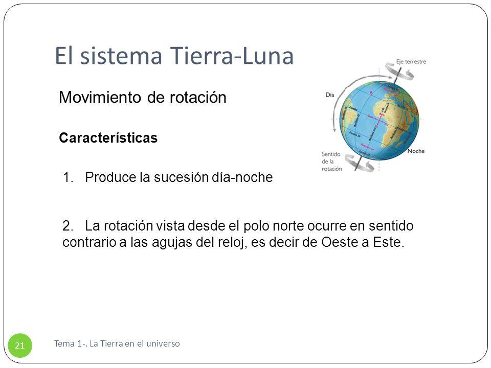 El sistema Tierra-Luna Tema 1-. La Tierra en el universo 21 Movimiento de rotación Características 1. Produce la sucesión día-noche 2. La rotación vis