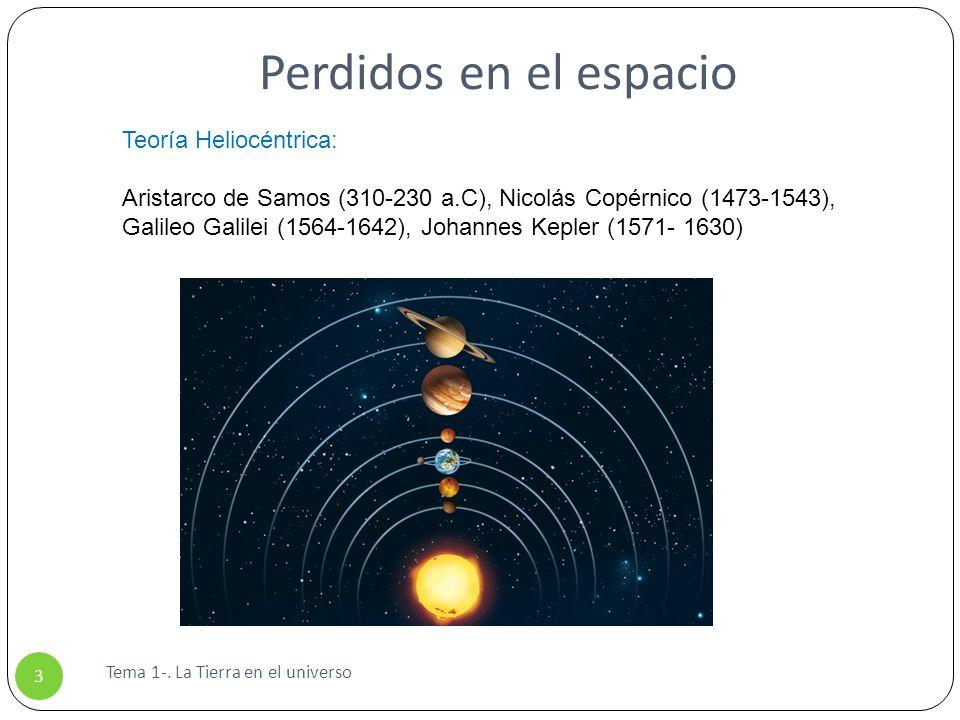 Perdidos en el espacio Tema 1-. La Tierra en el universo 3 Teoría Heliocéntrica: Aristarco de Samos (310-230 a.C), Nicolás Copérnico (1473-1543), Gali