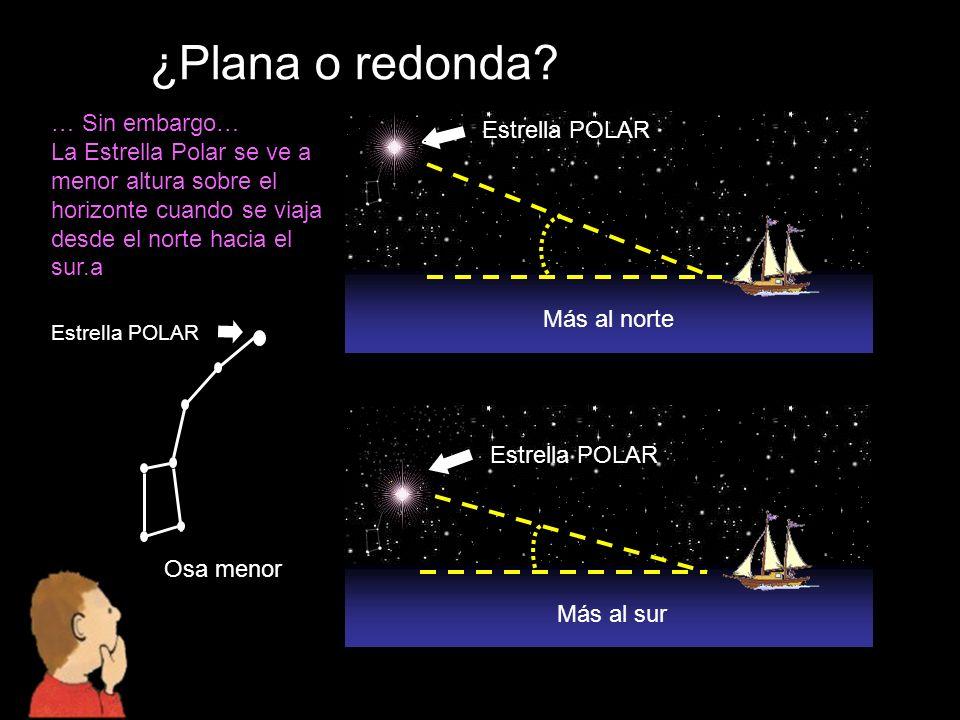 ¿Plana o redonda? … Sin embargo… La Estrella Polar se ve a menor altura sobre el horizonte cuando se viaja desde el norte hacia el sur.a Más al sur Má