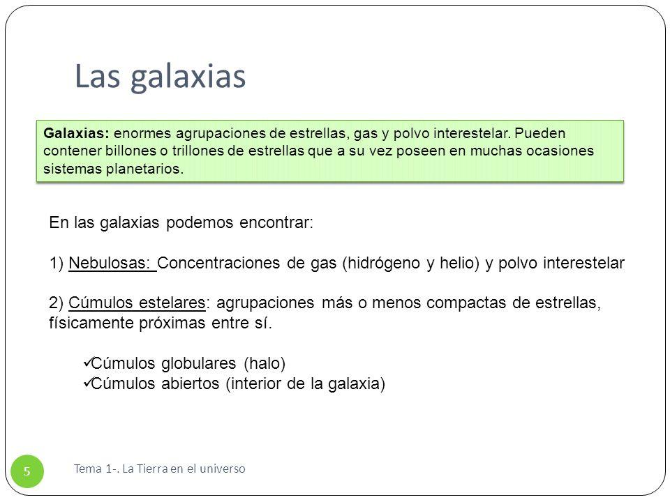 Las galaxias Tema 1-. La Tierra en el universo 5 En las galaxias podemos encontrar: 1) Nebulosas: Concentraciones de gas (hidrógeno y helio) y polvo i