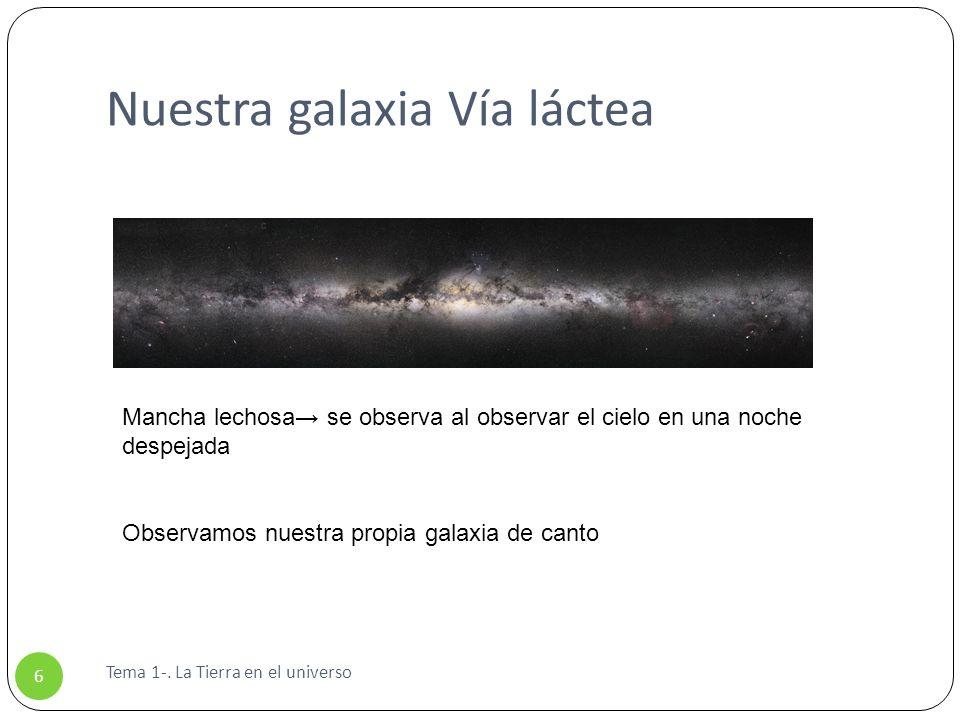 Tema 1-. La Tierra en el universo 6 Nuestra galaxia Vía láctea Mancha lechosa se observa al observar el cielo en una noche despejada Observamos nuestr