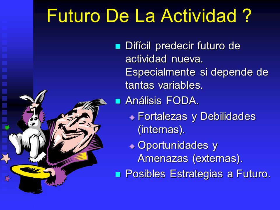 Futuro De La Actividad ? Difícil predecir futuro de actividad nueva. Especialmente si depende de tantas variables. Difícil predecir futuro de activida