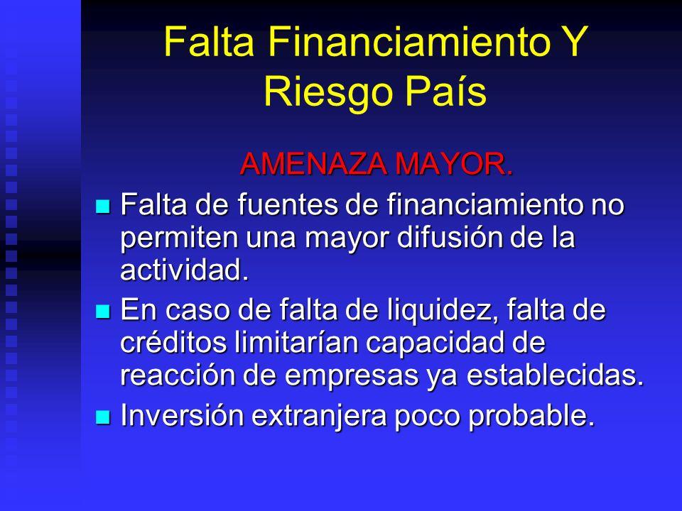 Falta Financiamiento Y Riesgo País AMENAZA MAYOR. Falta de fuentes de financiamiento no permiten una mayor difusión de la actividad. Falta de fuentes