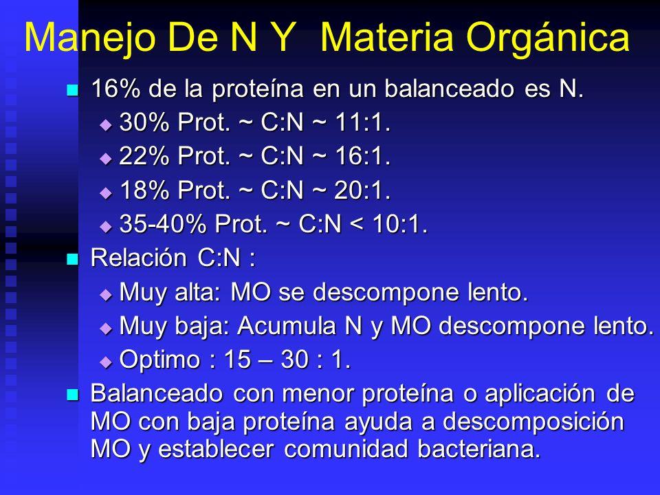 Manejo De N Y Materia Orgánica 16% de la proteína en un balanceado es N. 16% de la proteína en un balanceado es N. 30% Prot. ~ C:N ~ 11:1. 30% Prot. ~