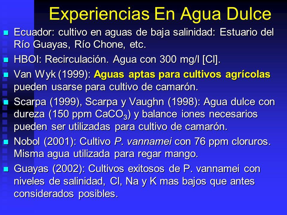 Experiencias En Agua Dulce Ecuador: cultivo en aguas de baja salinidad: Estuario del Río Guayas, Río Chone, etc. Ecuador: cultivo en aguas de baja sal