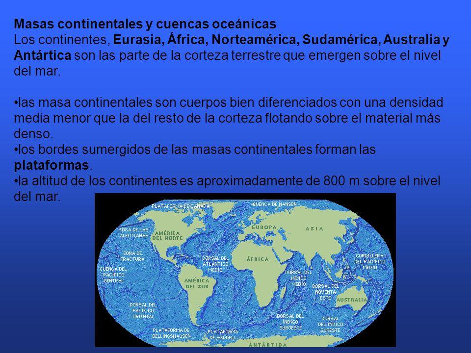 Masas continentales y cuencas oceánicas Los continentes, Eurasia, África, Norteamérica, Sudamérica, Australia y Antártica son las parte de la corteza terrestre que emergen sobre el nivel del mar.