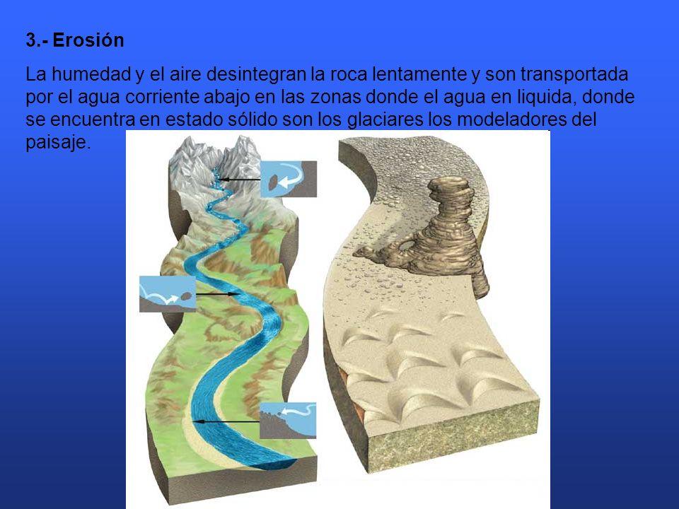 3.- Erosión La humedad y el aire desintegran la roca lentamente y son transportada por el agua corriente abajo en las zonas donde el agua en liquida, donde se encuentra en estado sólido son los glaciares los modeladores del paisaje.