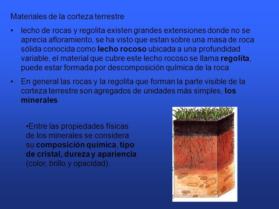 Materiales de la corteza terrestre lecho de rocas y regolita existen grandes extensiones donde no se aprecia afloramiento, se ha visto que estan sobre