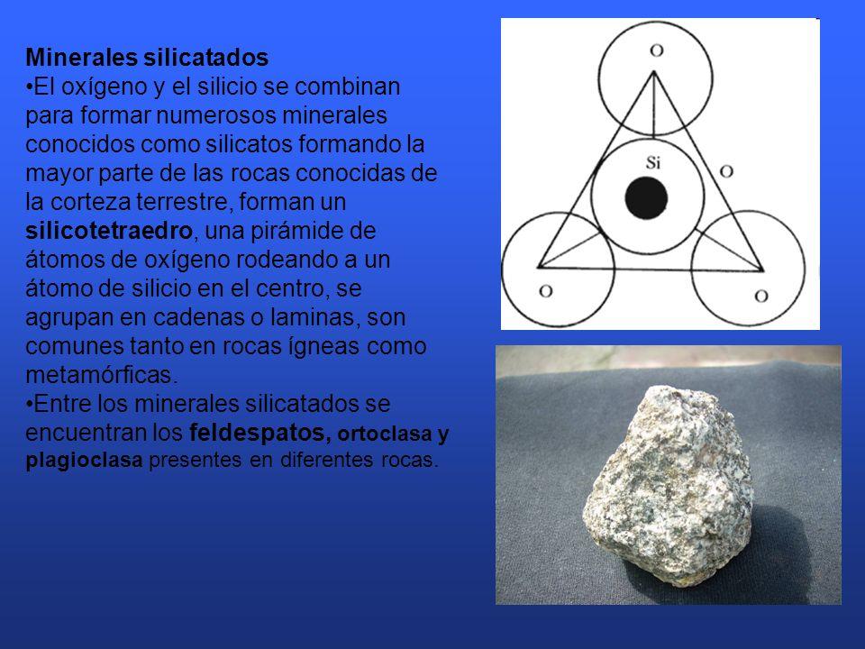 Minerales silicatados El oxígeno y el silicio se combinan para formar numerosos minerales conocidos como silicatos formando la mayor parte de las rocas conocidas de la corteza terrestre, forman un silicotetraedro, una pirámide de átomos de oxígeno rodeando a un átomo de silicio en el centro, se agrupan en cadenas o laminas, son comunes tanto en rocas ígneas como metamórficas.