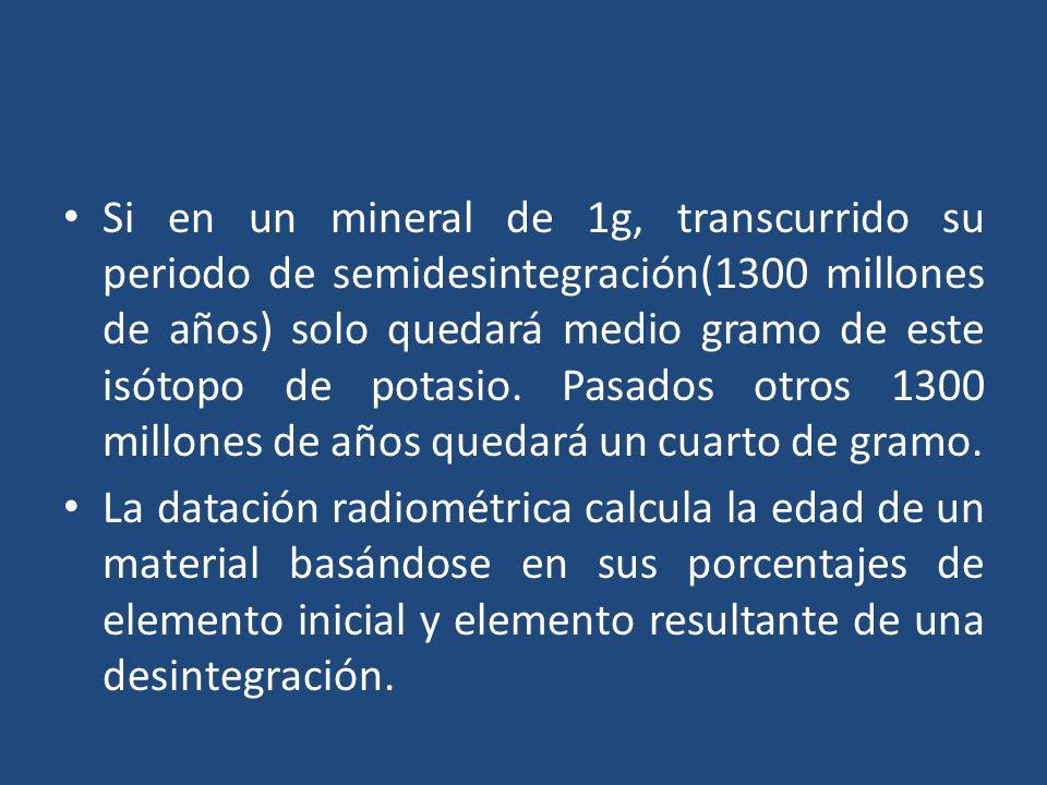 Si en un mineral de 1g, transcurrido su periodo de semidesintegración(1300 millones de años) solo quedará medio gramo de este isótopo de potasio.