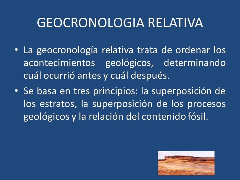 GEOCRONOLOGIA RELATIVA La geocronología relativa trata de ordenar los acontecimientos geológicos, determinando cuál ocurrió antes y cuál después.