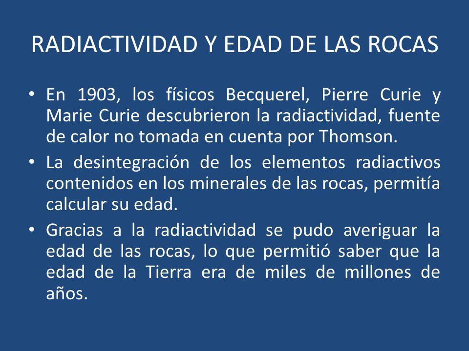 RADIACTIVIDAD Y EDAD DE LAS ROCAS En 1903, los físicos Becquerel, Pierre Curie y Marie Curie descubrieron la radiactividad, fuente de calor no tomada en cuenta por Thomson.