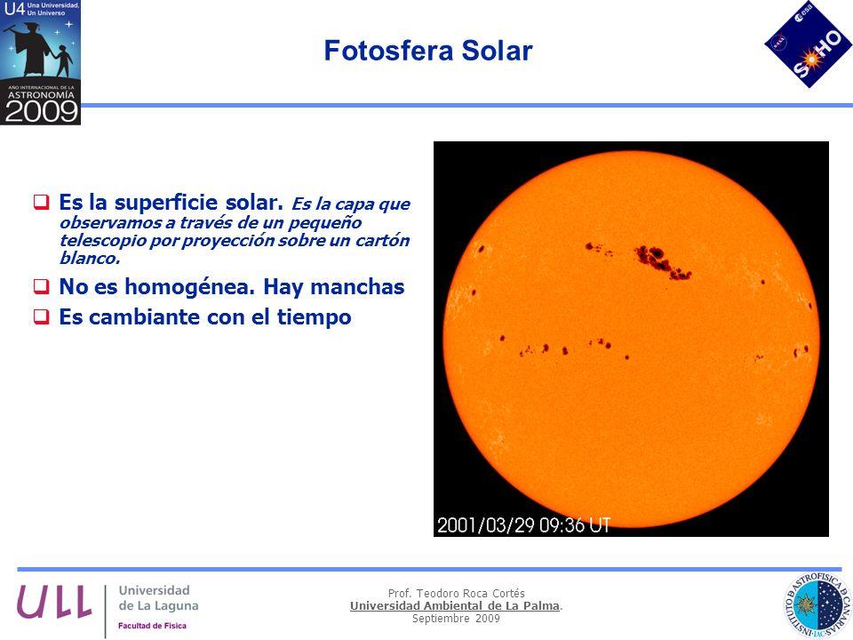 Prof. Teodoro Roca Cortés Universidad Ambiental de La Palma. Septiembre 2009 Fotosfera Solar Es la superficie solar. Es la capa que observamos a travé