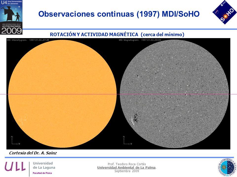 Prof. Teodoro Roca Cortés Universidad Ambiental de La Palma. Septiembre 2009 Observaciones continuas (1997) MDI/SoHO ROTACIÓN Y ACTIVIDAD MAGNÉTICA (c