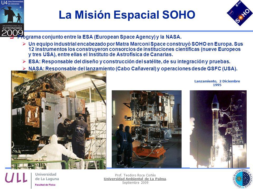 Prof. Teodoro Roca Cortés Universidad Ambiental de La Palma. Septiembre 2009 La Misión Espacial SOHO Programa conjunto entre la ESA (European Space Ag