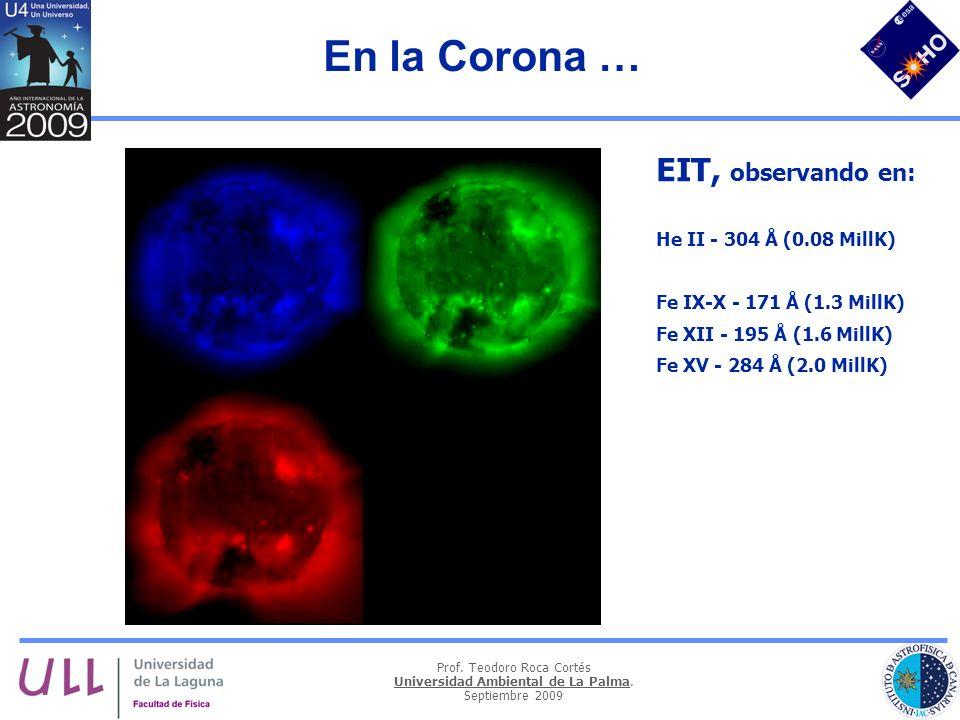 Prof. Teodoro Roca Cortés Universidad Ambiental de La Palma. Septiembre 2009 En la Corona … EIT, observando en: He II - 304 Å (0.08 MillK) Fe IX-X - 1