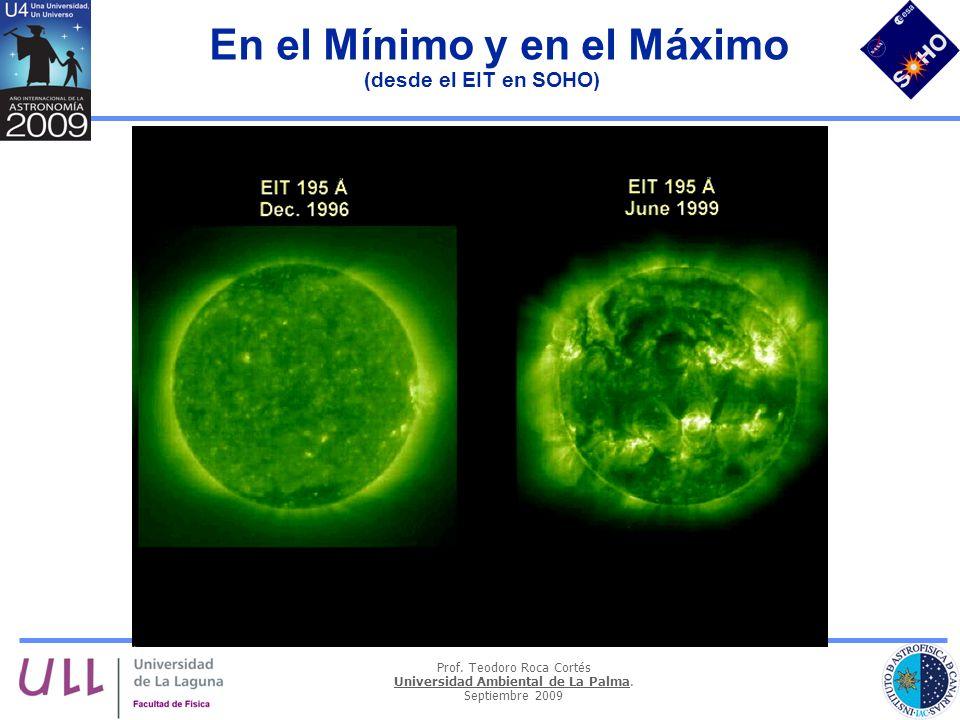 Prof. Teodoro Roca Cortés Universidad Ambiental de La Palma. Septiembre 2009 En el Mínimo y en el Máximo (desde el EIT en SOHO)