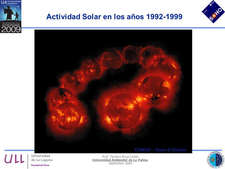 Prof. Teodoro Roca Cortés Universidad Ambiental de La Palma. Septiembre 2009 Actividad Solar en los años 1992-1999 19921999 Kitt Peak magnetograms YOH