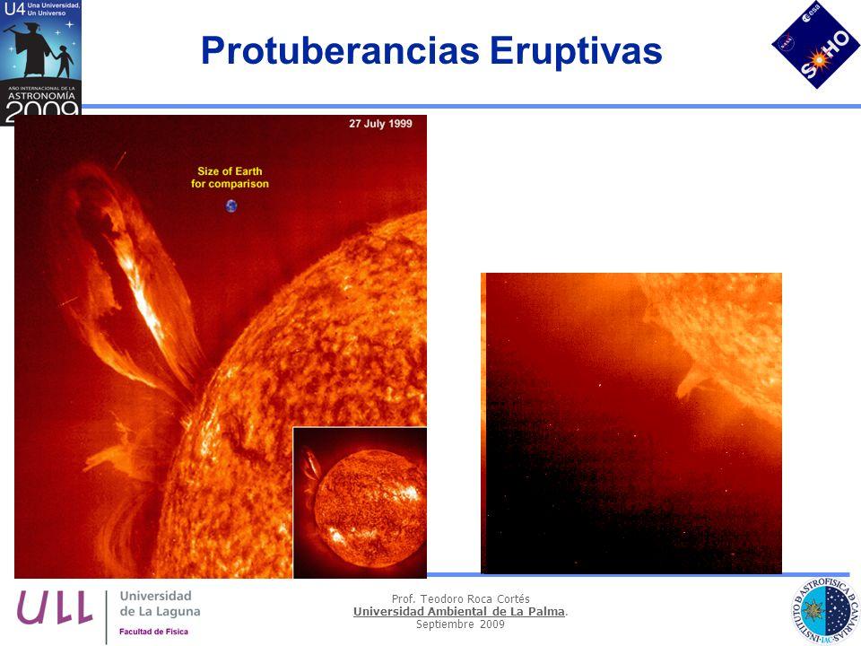 Prof. Teodoro Roca Cortés Universidad Ambiental de La Palma. Septiembre 2009 Protuberancias Eruptivas