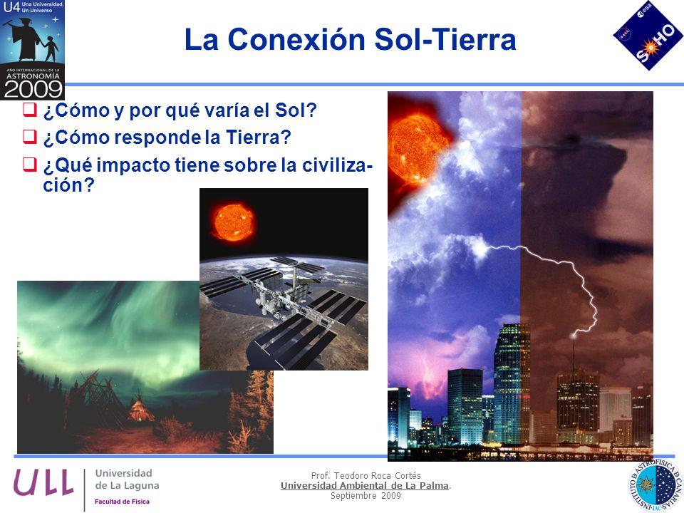 Prof. Teodoro Roca Cortés Universidad Ambiental de La Palma. Septiembre 2009 La Conexión Sol-Tierra ¿Cómo y por qué varía el Sol? ¿Cómo responde la Ti
