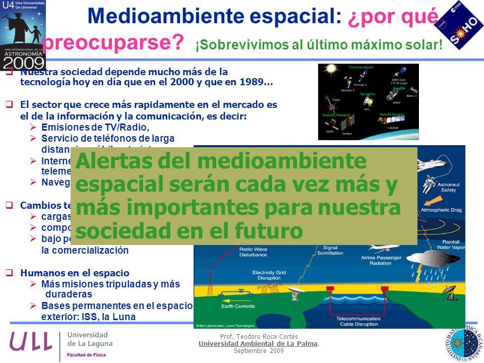 Prof. Teodoro Roca Cortés Universidad Ambiental de La Palma. Septiembre 2009 Nuestra sociedad depende mucho más de la tecnología hoy en día que en el