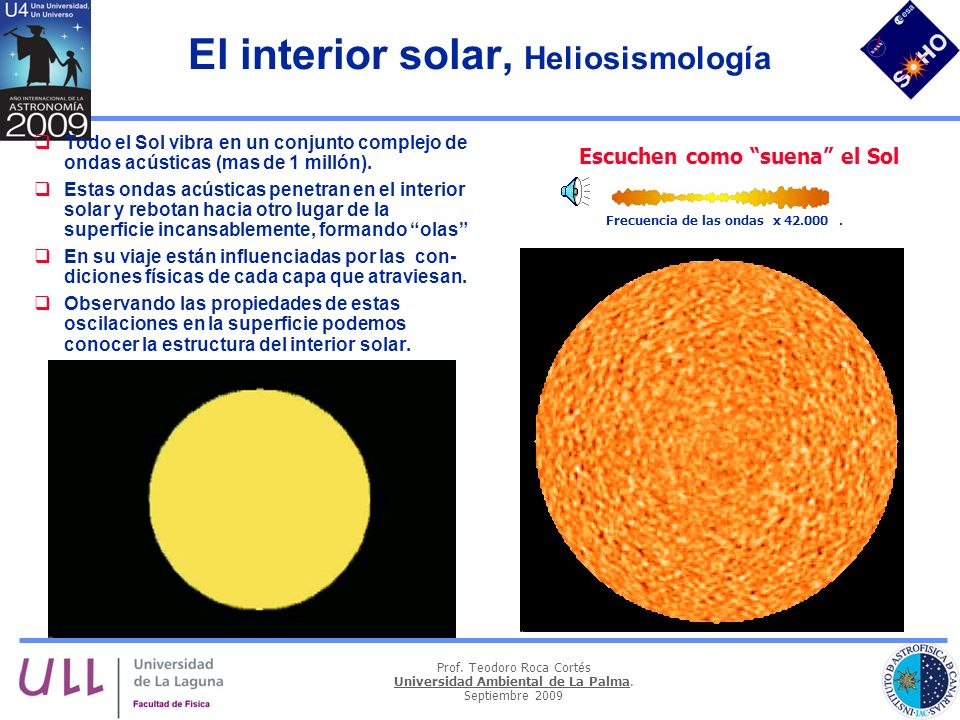 Prof. Teodoro Roca Cortés Universidad Ambiental de La Palma. Septiembre 2009 El interior solar, Heliosismología Todo el Sol vibra en un conjunto compl