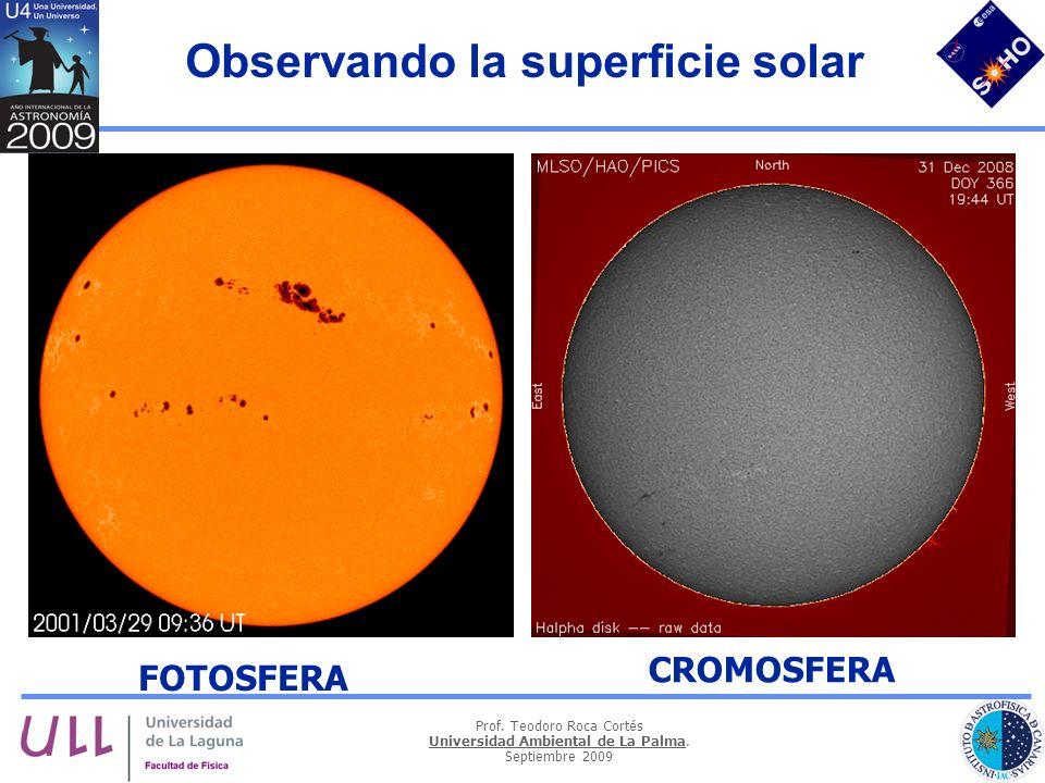 Prof. Teodoro Roca Cortés Universidad Ambiental de La Palma. Septiembre 2009 Observando la superficie solar FOTOSFERA CROMOSFERA