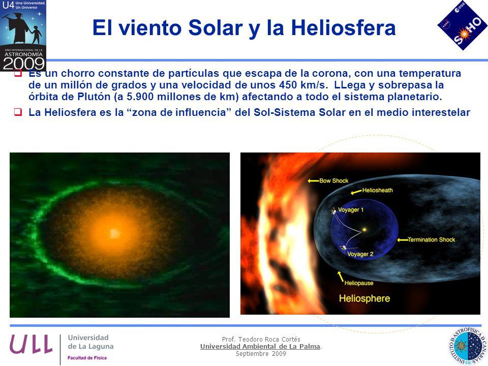 Prof. Teodoro Roca Cortés Universidad Ambiental de La Palma. Septiembre 2009 El viento Solar y la Heliosfera Es un chorro constante de partículas que