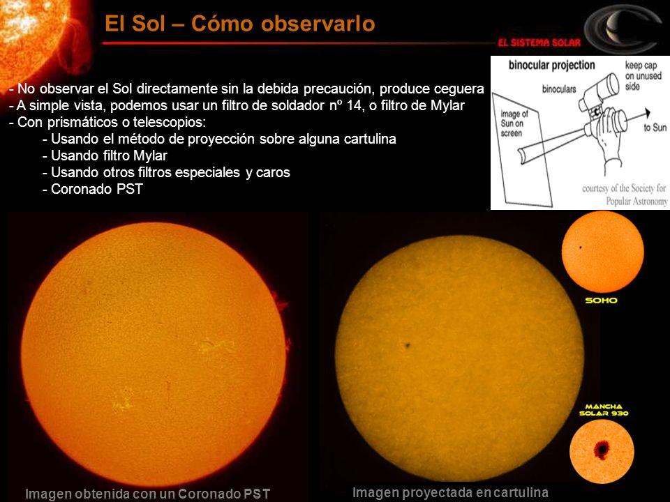 - No observar el Sol directamente sin la debida precaución, produce ceguera - A simple vista, podemos usar un filtro de soldador nº 14, o filtro de My