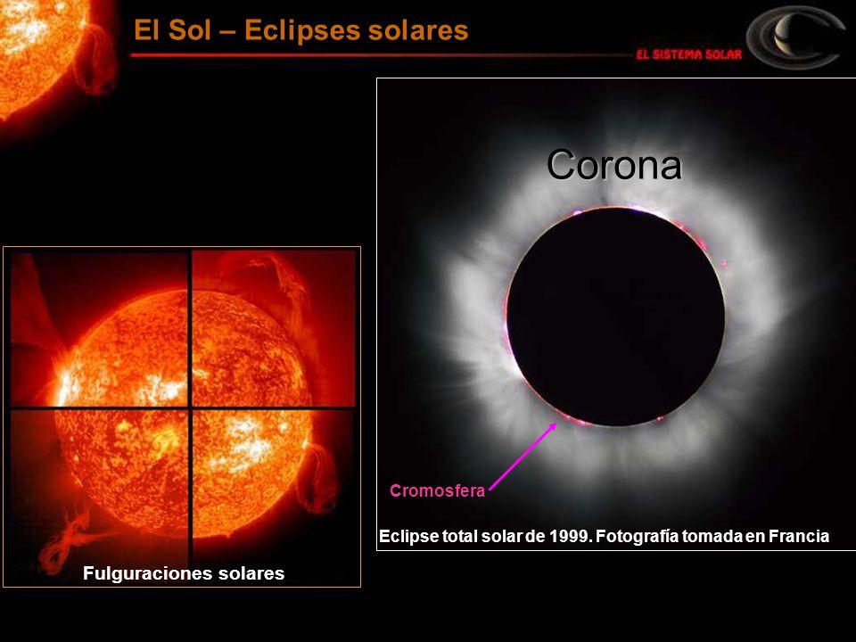 Eclipse total solar de 1999. Fotografía tomada en Francia El Sol – Eclipses solaresCorona Cromosfera Fulguraciones solares