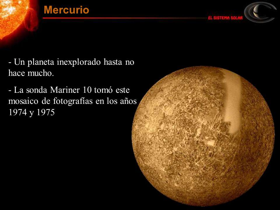 - Un planeta inexplorado hasta no hace mucho. - La sonda Mariner 10 tomó este mosaico de fotografías en los años 1974 y 1975 Mercurio