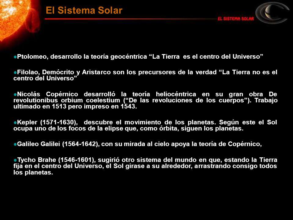 El Sistema Solar Ptolomeo, desarrollo la teoría geocéntrica La Tierra es el centro del Universo Filolao, Demócrito y Aristarco son los precursores de