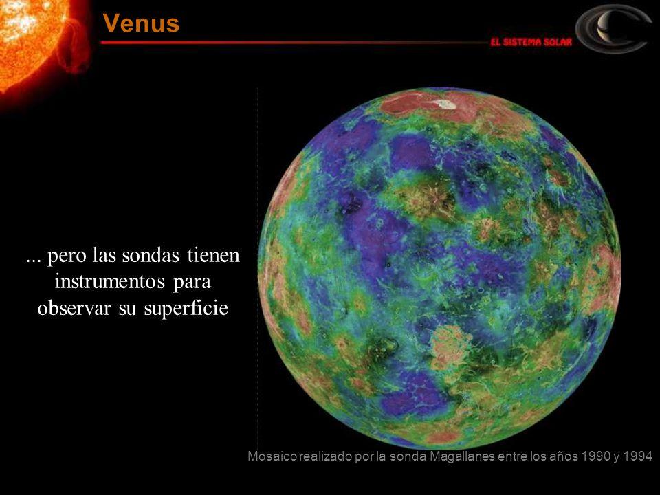 ... pero las sondas tienen instrumentos para observar su superficie Mosaico realizado por la sonda Magallanes entre los años 1990 y 1994 Venus