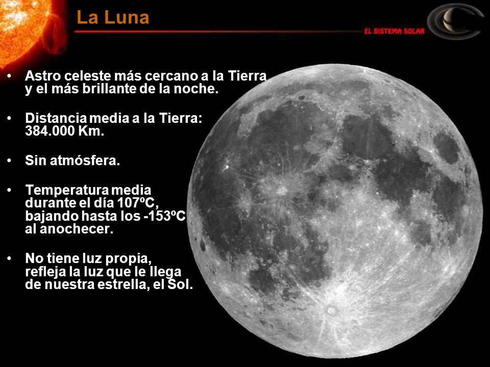 Astro celeste más cercano a la Tierra y el más brillante de la noche. Distancia media a la Tierra: 384.000 Km. Sin atmósfera. Temperatura media durant