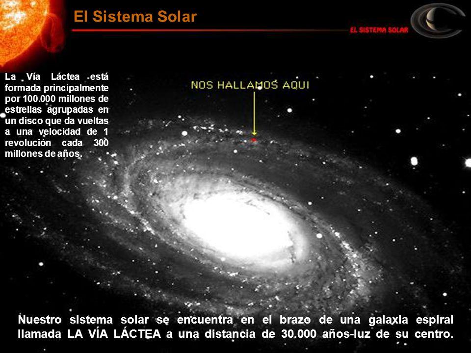 El Sistema Solar La Vía Láctea está formada principalmente por 100.000 millones de estrellas agrupadas en un disco que da vueltas a una velocidad de 1