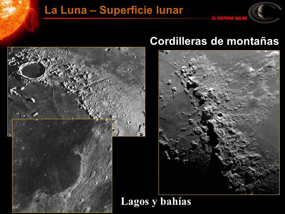Cordilleras de montañas Lagos y bahías La Luna – Superficie lunar