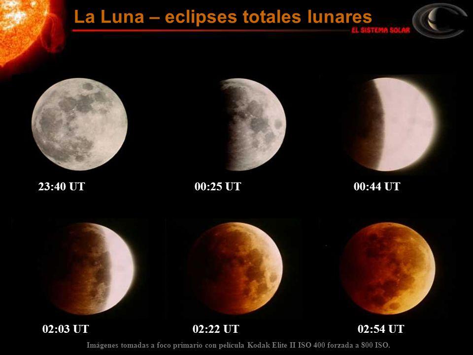 Imágenes tomadas a foco primario con película Kodak Elite II ISO 400 forzada a 800 ISO. 23:40 UT 00:25 UT 00:44 UT 02:03 UT 02:22 UT 02:54 UT La Luna
